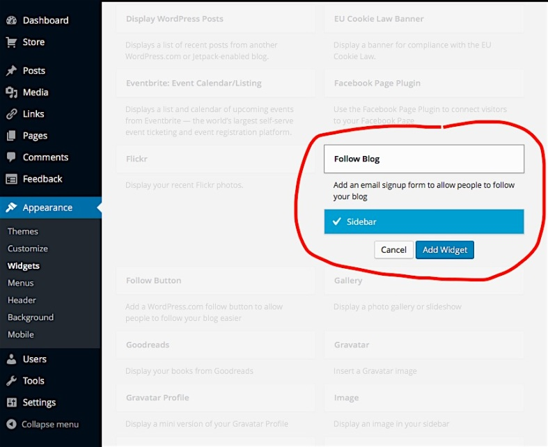 how to add a follow button on wordpress blog