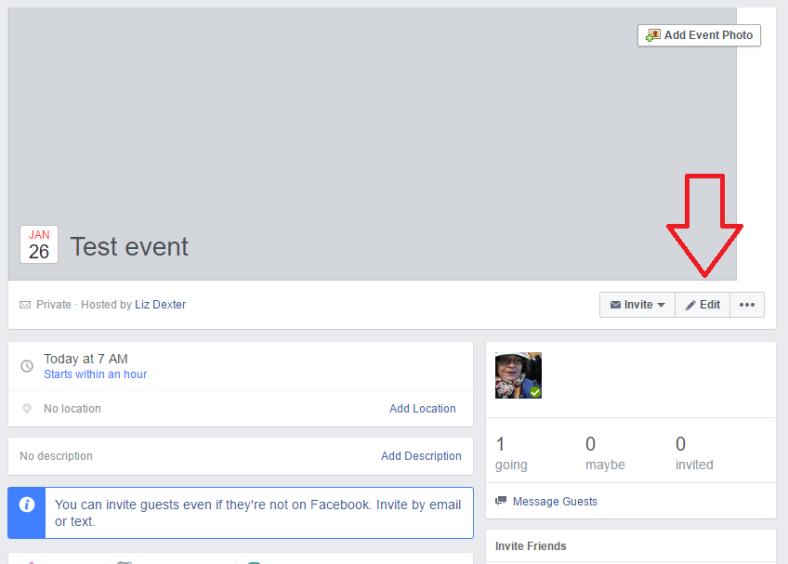 edit a facebook event to cancel it
