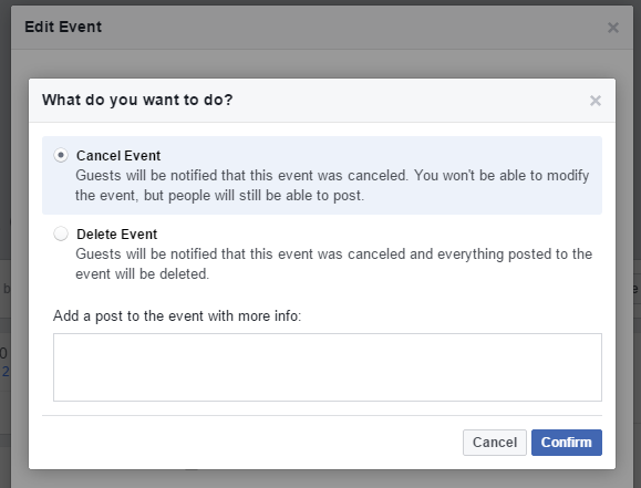 confirm cancellation of facebook event