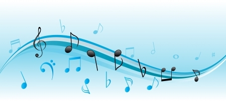 7256543 - musical notes on blue and white swirls