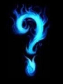 blue flames question mark
