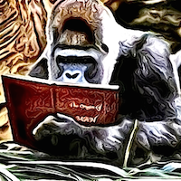 Large TSRA Blog Logo showing a silverback gorilla reading an Origin of Man book