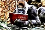 Small TSRA Blog Logo showing a silverback gorilla reading an Origin of Man book