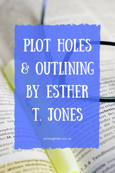 Plot holes and outlining by Esther T Jones. Image: Book with highlighter and glasses