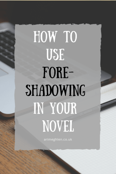 How to use foreshadowing in your novel.  Image of laptop and pad on desk from Pixabay