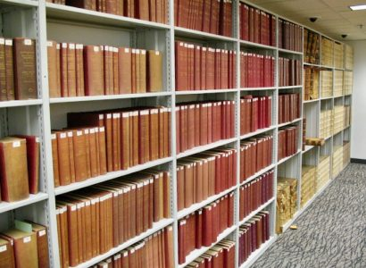 IS YOUR BOOK PROTECTED BY AN OFFICIAL COPYRIGHT? These Library of Congress shelves hold paper copyright certificates bound into hardback volumes for the permanent archive.