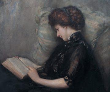 Lady Reading Poetry by Ishibashi Kazunori (Wikimedia)