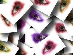 Pictures of single eyes scattered atop one another and ringed by purple, red, or yellow eye shadow. From Pixabay.